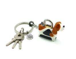 kl053-03ak-padlock-with-key-hanging-basset-hound-1-5x4-5x3-5-cm