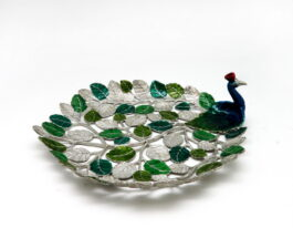 tr051-c-hibiscus-peacock-with-color-tray-19x23x7cm-green