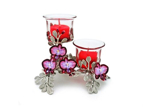 CB136 Candle holder, Orchid flowers 16x12.5x13 cm.
