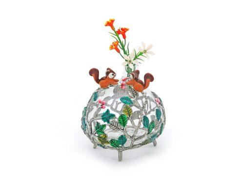VS048.L Glass Vase leaf with twin Squirrel 8x9.5x9 cm.