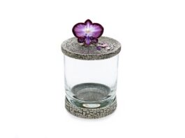 WG011 Orchid flower Glass Holder 7.5x7.5x13 cm.