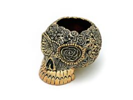AT015.03 Ash Tray Skull, with 18k gold fee 6x7.5x5.5 cm.