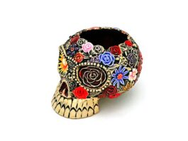 AT015.03.C Ash Tray Skull, with 18k gold fee + color 6x7.5x5.5 cm.