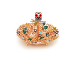 PT082.C.03 Platter mix flowers single owl coated with 18k gold fee 10x10x8cm.