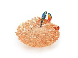 PT090.S.03 Platter Tropical Botanic with twin parrot coated with 18k gold