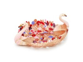 TR103.03. Twin Swan tropical leaves tray with 18k gold fee color 17x24x8.5 cm.